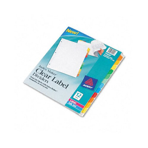 Avery Index Maker Clear Label Punched White Dividers with Color Tabs in Multi