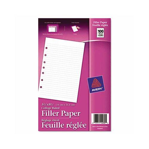 Avery Mini Binder Filler Paper 100 Sheets