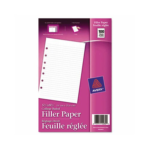 Avery Mini Binder Filler Paper 100 Sheets