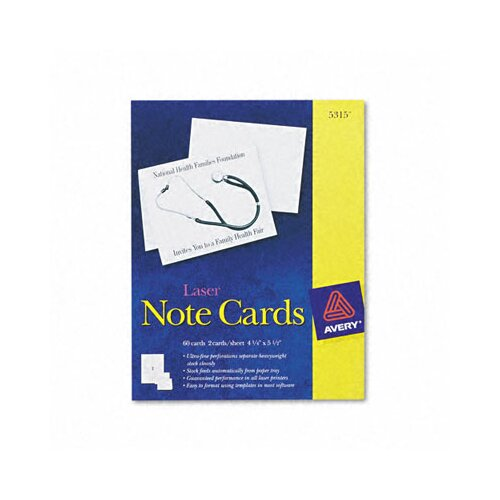 Avery Printer Compatible Cards, 2/Sheet, 60/Box