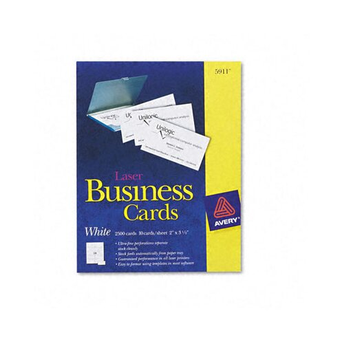 Avery Laser Business Cards, 2500/Box