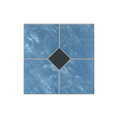 "Home Dynamix 12"" x 12"" Vinyl Tile in Blue Marble / Black Diamond"