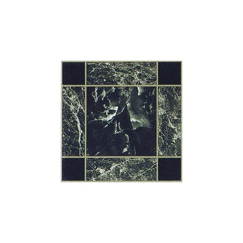 "Home Dynamix 12"" x 12"" Vinyl Tile in Dark Green and Gold Trim Marble"