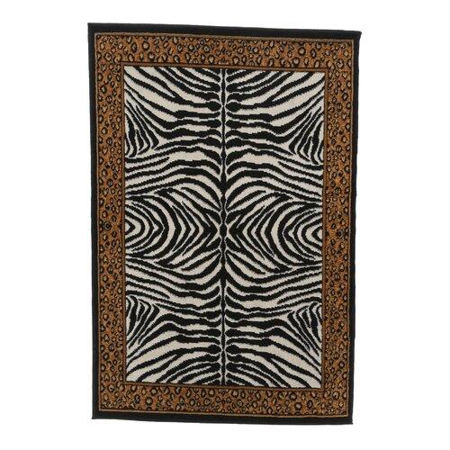 Zone Ebony Zebra/Leopard Print Rug