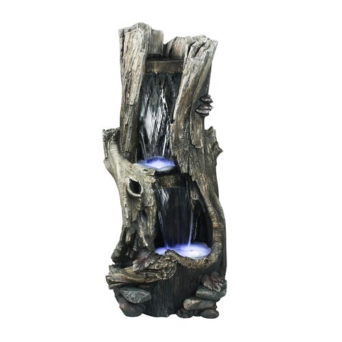 Alpine Tall Log Fiberglass Fountain