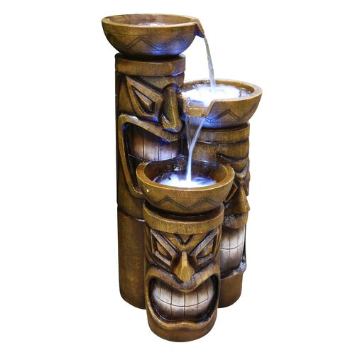 Alpine 3 Tiered Tiki Fountain with LED Lights