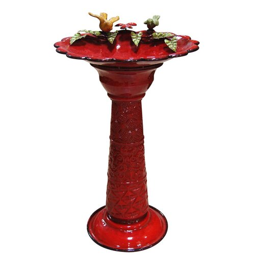 Alpine Metal Birdbath in Red