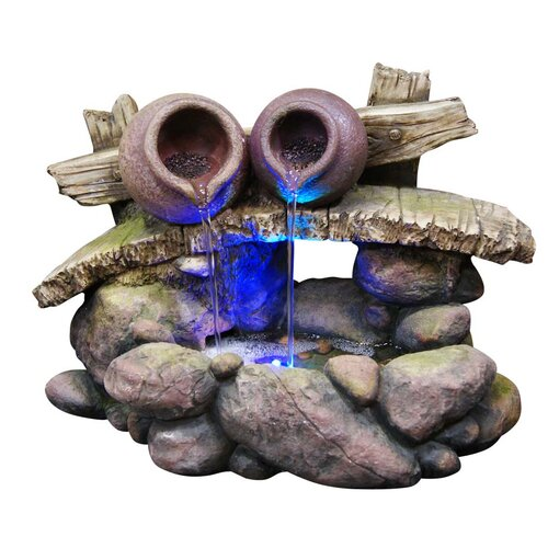 Alpine 2 Pots on Bridge Flowing Rock Fountain with LED Light