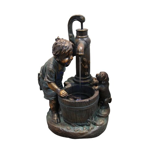 Fiberglass Resin Boy and Water Pump Fountain with LED Light