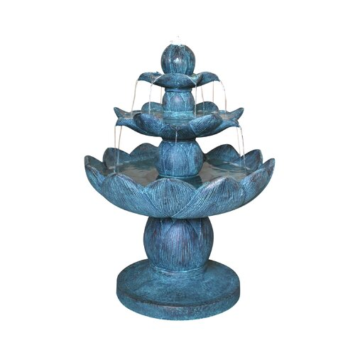 Fiberglass Tiered Waterlily Fountain with LED Light