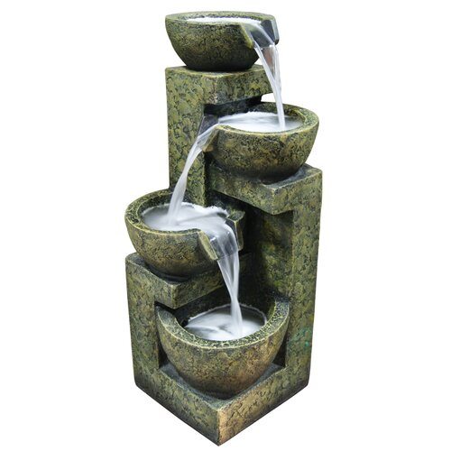 Fiberglass and Stone Three Tier Water Fountain
