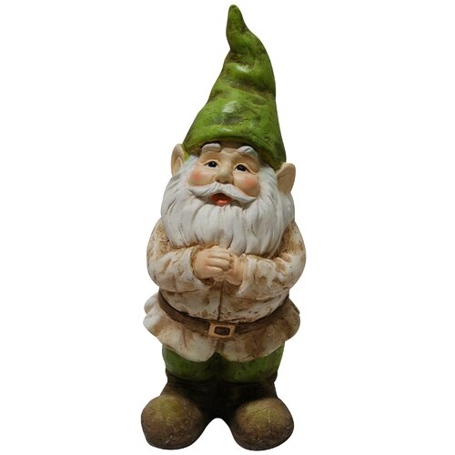Gnome Folding Hands Looking up Garden Statue