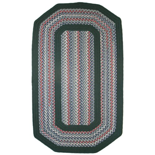 Pioneer Valley II Carribean Blue with Dark Green Solids Multi Elongated Octagon Outdoor Rug