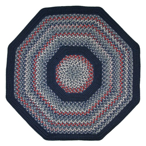 Thorndike Mills Pioneer Valley II Olympic Blue with Dark Blue Solids Multi Octagon Outdoor Rug