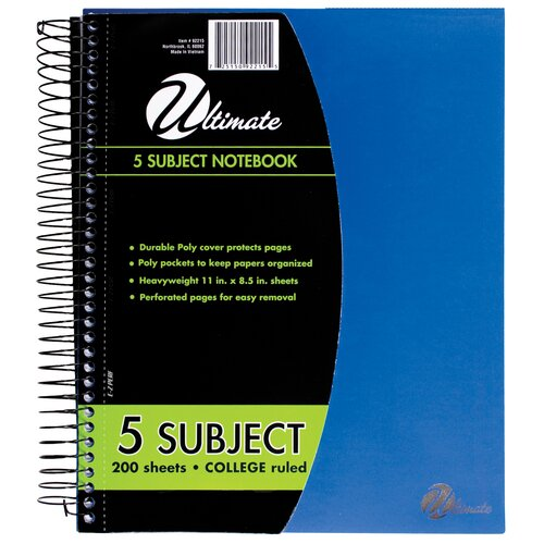 "ItsAcademic 8.5"" x 11"" 5-Subject Notebook"