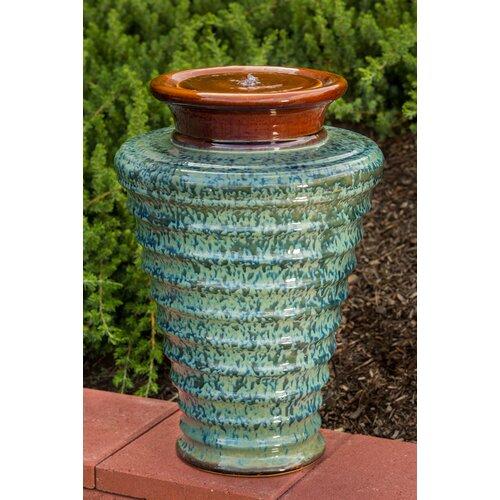 18 Fountains South West Pottery Glazed Ceramic Fountains: Twister Indoor / Outdoor Ceramic Urn Fountain