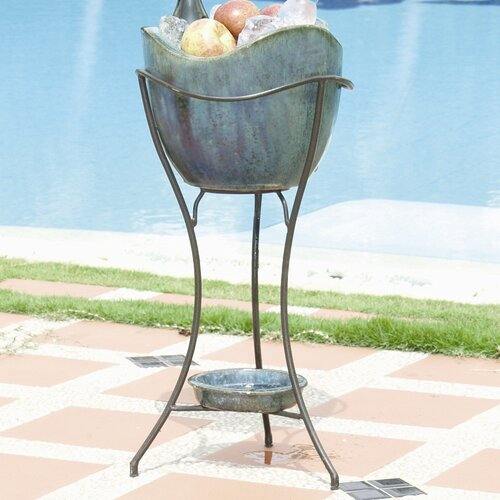 Alfresco Home Olas Elevated Ceramic Beverage Tub Set