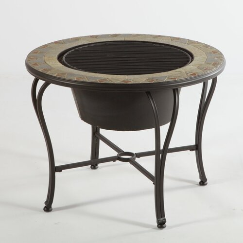 Alfresco Home Notre Dame Mosaic Fire Pit and Beverage Cooler Table