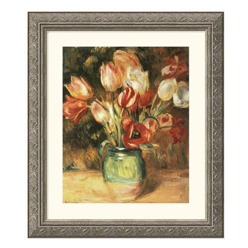 Museum Reproductions Vase with Tulips by Pierre Auguste Renoir Framed Painting Print