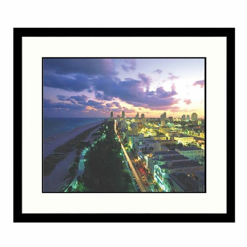 Great American Picture Cityscapes 'Ocean Drive in South Beach Miami' by Robin Hill Framed Photographic Print