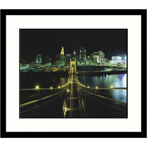 Great American Picture Cityscapes 'Roebling Bridge Cinncinnati' by Adam Jones Framed Photographic Print