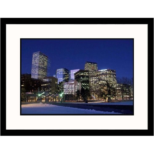 Great American Picture Cityscapes 'Skyline at Night in Denver, Colorado' by Charles Benes Framed Photographic Print