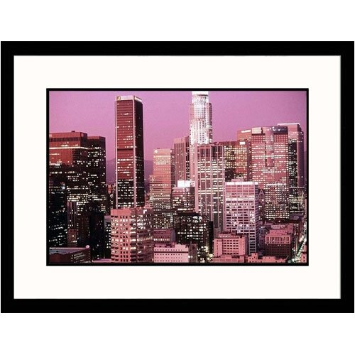 Great American Picture Cityscapes 'Los Angeles Skyline Dusk in California' by Ted Wilcox Framed Photographic Print