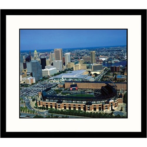 Great American Picture Cityscapes 'Aerial Baltimore Skyline and Camden Yards' by James Blank Framed Photographic Print