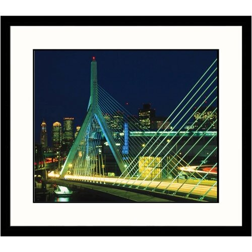 Great American Picture Cityscapes 'Zakim Bridge in Boston' by James Lemass Framed Photographic Print