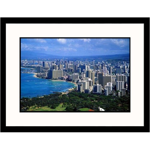Great American Picture Cityscapes View of Honolulu Framed Photographic Print