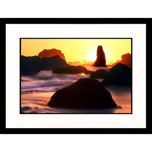 Great American Picture Seascapes 'Bandon Beach Sunset' by Russell Burden Framed Photographic Print