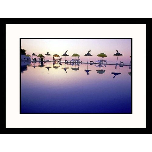 Great American Picture Seascapes 'Umbrellas Reflected In Water' by John Glembin Framed Photographic Print