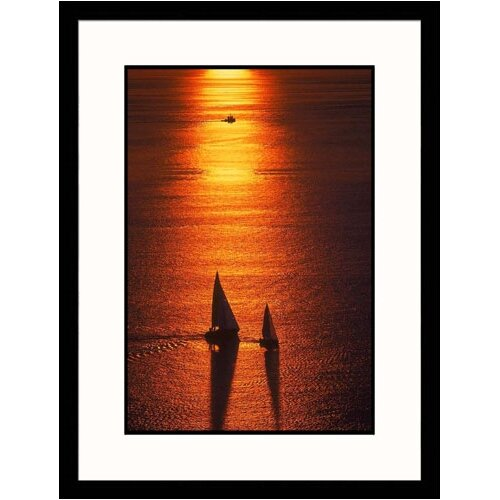 Seascapes 'Silhouette of Sailboats' by Jim Corwin Framed Photographic Print