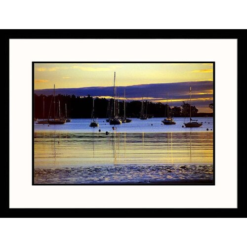 Seascapes 'Boats in Harbor at Sunset' by Kindra Clineff Framed Photographic Print