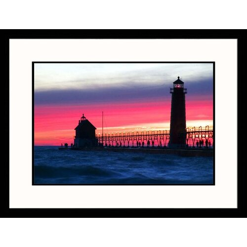 Great American Picture Seascapes 'Grand Haven Lighthouse' by David Davis Nielsen Framed Photographic Print