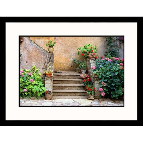 Great American Picture Florals Geraniums near Staircase Framed Photographic Print