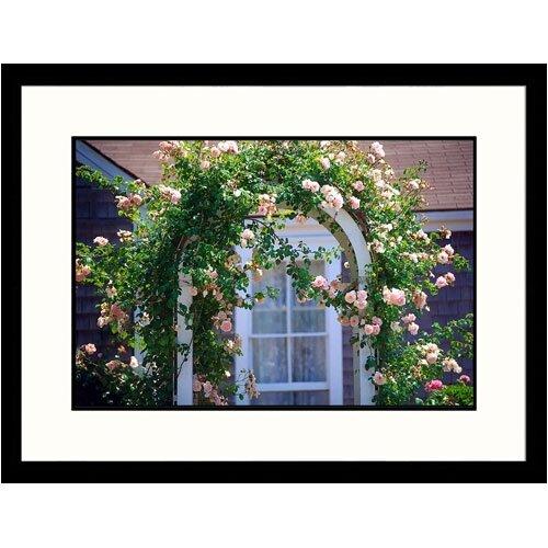 Florals Pink Roses on Trestle Framed Photographic Print