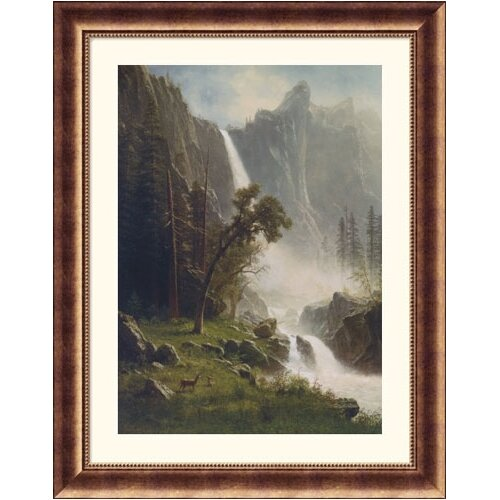 Great American Picture Museum Reproductions 'Bridal Veil Falls, Yosemite' by Albert Bierstadt Framed Photographic Print