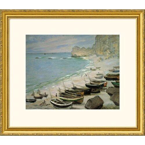 Great American Picture Museum Reproductions 'Boats on The Beach of Etretat (Bateux sur la Plage a Etretat) 1883' by Claude Monet Framed Photographic Print