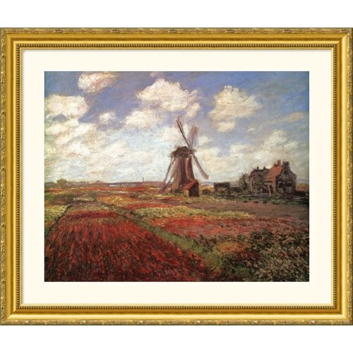 Museum Reproductions 'Champs de Tulip' by Claude Monet Framed Photographic Print