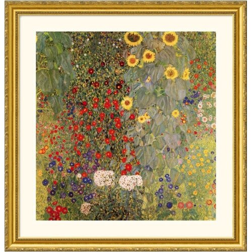 Great American Picture Museum Reproductions 'Garden with Sunflowers' by Gustav Klimt Framed Painting Print