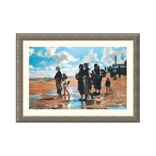 Museum Reproductions 'Oyster Gatherers of Cancale, 1878' by John Singer Sargent Framed Painting ...