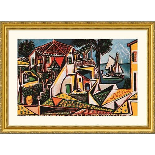 Great American Picture Museum Reproductions 'Paysage Mediterranean (Mediterranean Landscape)' by Pablo Picasso Framed Painting Print