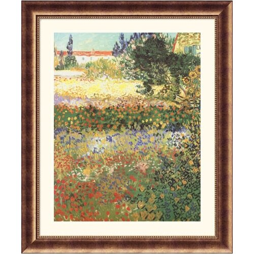 Museum Reproductions Flowering Garden by Vincent Van Gogh Framed Painting Print