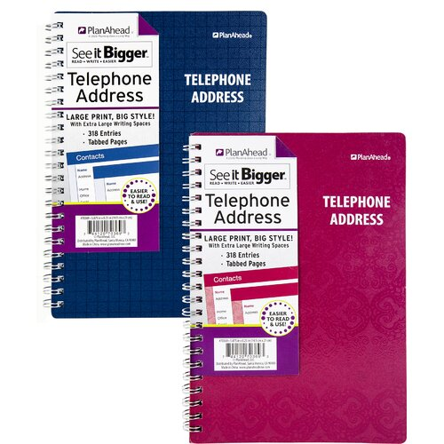 PlanAhead Large Print Telephone & Address Book Assorted Colors