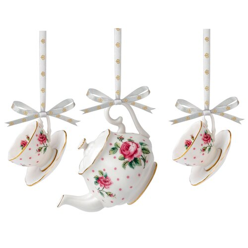 New Country Roses Mini Teapot and Teacup, Saucer Pair Ornament Set (Set of 3)