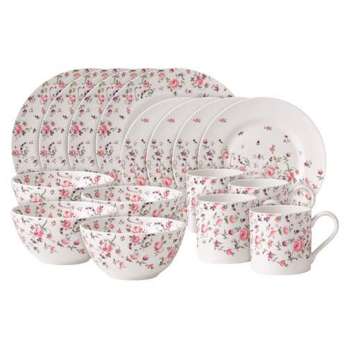 Rose Confetti Casual 16 Piece Dinnerware Set