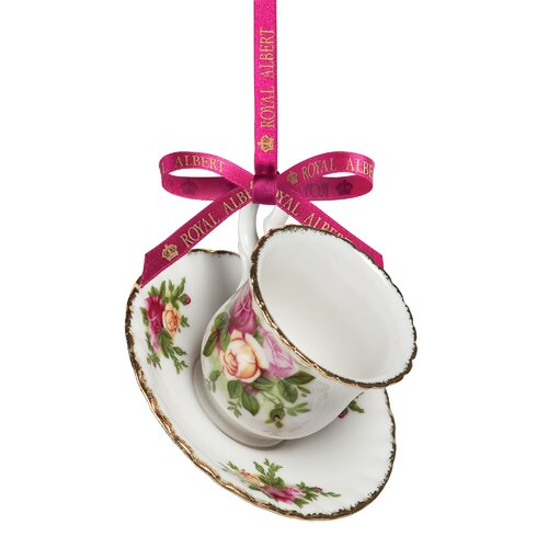 Old Country Roses Teacup and Saucer Ornament