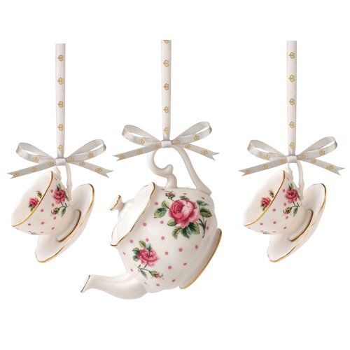 New Country Roses Cheeky Mini Teacup Ornaments (Set of 3)