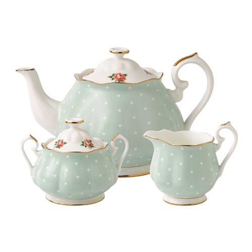 Royal Albert Polka Blue Rose 3 Piece Tea Set